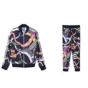 Adidas Floral Burst Joggers & Jacket Track Set S